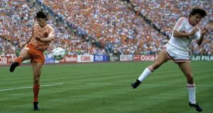 Marco van Basten volleys home the Netherlands' second goal during the Euro 1988 final against the Soviet Union. Photo: Getty Images