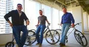On a roll (from left): GeoOrbital Inc's Michael Burtov, Dakota Decker and Michael Potts