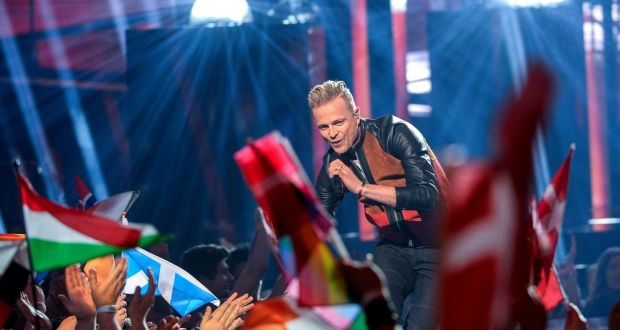 Nicky Byrne performs 'Sunlight' during the second Eurovision semi-final in Stockholm on Thursday. Photograph: Maja Suslin/EPA
