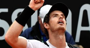Andy Murray celebrates after winning the men's final match against Novak Djokovic of Serbia at the ATP Tennis Open at the Foro Italico in Rome. Photograph: Getty Images
