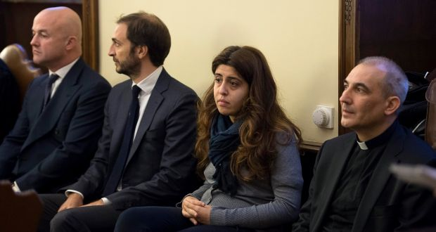 Italian journalists Gianluigi Nuzzi and Emiliano Fittipaldi, public relations expert Francesca Chaouqui and Msgr Angelo Lucio Vallejo Balda sit during their trial in the Vatican, in this file picture from November 2015. Photograph: L'Osservatore Romano/AP