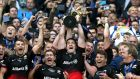 "Saracens' Brad Barritt lifts the European Champions Cup trophy after victory over Racing 92. ""I have a soft spot for Saracens ever since I spent a day at the club last year."" Photograph: Adam Davy/PA"