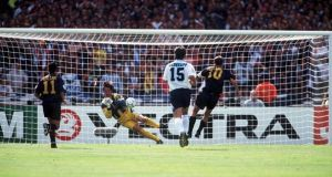 Gary McAllister sees his penalty saved by David Seaman. Photograph: Getty