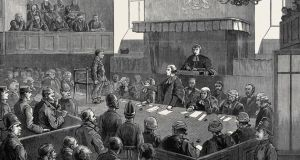 The Maamtrasna murder trial in a Galway court, as portrayed in a December 1882 edition of the Graphic, an illustrated British weekly. Image: Universal History Archive/UIG via Getty Images
