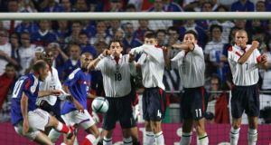 Zinedine Zidane's stunning free-kick pulled France level in their opening Euro 2004 fixture against England. Photograph: Getty