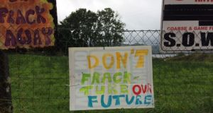 Protest against fracking in Fermanagh in 2014. Oil and gas company Tamboran has expressed an interest in fracking in a cross-border area between south Fermanagh and north Leitrim.
