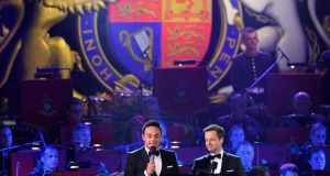 Anthony McPartlin (left) and Declan Donnelly present the final night of the British queen's 90th birthday celebrations at Windsor Castle. Photograph: Leon Neal/AFP/Getty