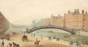 Watercolour drawing of Dublin's Ha'penny Bridge (1818) by Samuel Frederick Brocas. Image courtesy of National Library of Ireland