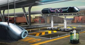 An artist's impression of a Hyperloop station