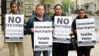 Tyrrelstown tenants Lisa Dim, Charlie Cleary, Seun Ogunniran, and Funke Tobun, at a demonstration ahead of a meeting of the Oireachtas Housing and Homelessness Committee last week. File photograph: Eric Luke/The Irish Times