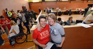 Lisa Fingleton and Rena Blake at the count centre in Tralee. Photograph: Domnick Walsh