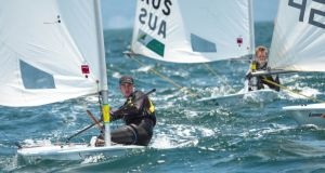 Finn Lynch on his way to winning the Irish mens' Laser nomination in Mexico this week.