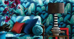 "1. Matthew Williamson's Tropicana in deep shades of petrol, emerald and turquoise shouts ""land ahoy"" louder than any other print featured. Layer the look on to furnishings and walls for a more-is-more sense of drama. The paper costs €100 per roll at Donnybrook-based Kevin Kelly interiors.  Kevinkellyinteriors.ie"
