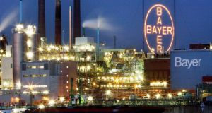Chemical giant: Shares in  Bayer plunged by the most in seven years in Frankfurt after the drugmaker confirmed an offer to buy the world's largest seed producer, which has a market value of about $45 billion (€59 billion). Photograph: Oliver Berg/AFP/Getty Images