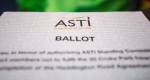 ASTI members voted by a substantial margin to cease working additional hours, in a move which places them in direct conflict with the Government. Photograph: Brenda Fitzsimons
