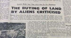 "Cliffs of Moher: ""The buying of land by aliens criticised,"" from the Clare Champion of September 26th, 1964"