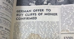 "Clare Champion: ""German offer to buy Cliffs of Moher confirmed,"" from August 1964"
