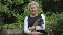 Well-known gardener Helen Dillon with the late Ruby, one of her much-loved dachshunds