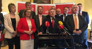 Members of Labour's parliamentary party - minus Alan Kelly - at a press conference in Dublin on Friday to announce the appointment of Brendan Howlin as party leader.