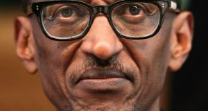 "Rwanda's President Paul Kagame: Kagame is the all-seeing presence in Sundaram's book. His portrait is ubiquitious. ""A big photo pays for your sins,"" one Rwandan comments wryly. Photograph: Reuters"