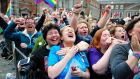 Joan Webster and Noeleen Cummins celebrate as the final vote is announced in The Same Sex Marriage Referendum in Dublin Castle, Ireland today 23 May 2015. Photograph: Aidan Crawley