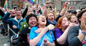 Joan Webster and Noeleen Cummins celebrate as the final vote is announced in the Same Sex Marriage Referendum in Dublin Castle. Photograph: Aidan Crawley/EPA