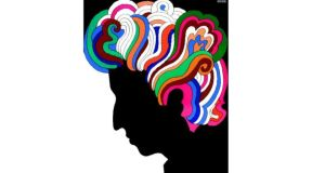 Shape shifter: Bob Dylan as drawn by Milton Glaser for the poster included with the album Bob Dylan's Greatest Hits, in 1967. Photograph courtesy of Milton Glaser