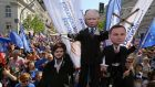 Puppets of Polish prime minister Beata Szydlo (left), PiS party leader Jaroslaw Kaczynski (centre) and president Andrzej Duda in a pro-EU membership march. Photograph: Pawel Supernak/EPA