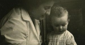 Brigid Cummings as a baby, with her mother