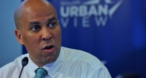 Cory Booker, the first African-American senator of New Jersey: name linked to Clinton. Photograph: Larry French/Getty Images for SiriusXM