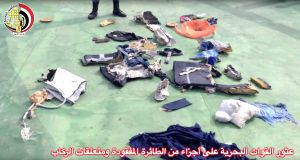 This still image taken from video posted Saturday on the official Facebook page of the Egyptian Armed Forces spokesman shows personal belongings and other wreckage of EgyptAir flight 804. Photograph: Egyptian Armed Forces via AP