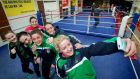 Grainne Walsh (second from the right in the front row) is through to the quarter-finals at the Women's World Boxing Championships in Kazakhstan. Photograph: Morgan Treacy/Inpho