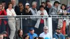Rory McIlroy's parents and fiancée Erica Stoll watch in the grandstand at the  Dubai Duty Free Irish Open at the K Club, Co Kildare. Photograph:  Paul Childs/Action Images via Reuters