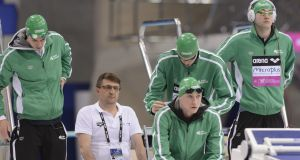 Ireland's Shane Ryan, Nicholas Quinn, Brendan Hyland and Chris Coulter at the European swimming championships on Sunday. Photograph: Andrea Staccioli/Inpho