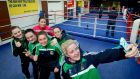 Kellie Harrington pictured with other members of the IABA High Performance squad. Photograph: Morgan Treacy/Inpho