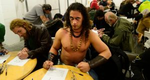 Conor Noonan from Dublin at the open casting for the Vikings in Dublin. Photograph: Cyril Byrne/The Irish Times