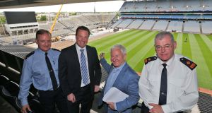 Insp Tony Gallagher, Mountjoy Garda station; Alan Gallagher, head of operations, Croke Park; Jim Clarke of Aiken Promotions and Supt Daniel Flavin of Mountjoy Garda station  at a press conference at Croke Park on  security and traffic arrangements for the weekend's Bruce Springsteen and The E Street band concerts at Croke Park. Photograph: Colin Keegan/Collins Dublin