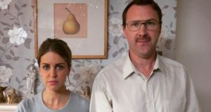 "Amy Huberman and Jason Byrne in ""The Rug"", a Sky comedy short produced by Sharon Horgan's company, Merman"