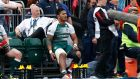 Leicester Tigers' Manu Tuilagi watches after going off injured during the Aviva Premiership Semi Final at Allianz Park, London. Photograph: PA