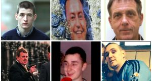 Victims of the Hutch-Kinahan feud:  (clockwise from top left): Gary Hutch, David Byrne, Eddie Hutch, Michael Barr,  Martin O'Rourke and Noel Duggan.