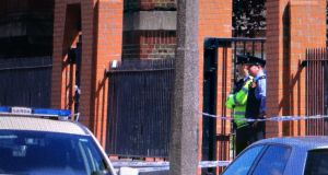 Gardaí at the scene of a fatal shooting in Dublin's north inner city. Photograph: Collins