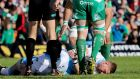 Glasgow's Finn Russell goes down injured at the Sportsground.
