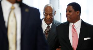 "Bill Cosby arriving at the Montgomery County courthouse for a preliminary hearing related to assault charges, in Norristown, Pennsylvania on Tuesday. He  said ""thank you"" to the judge after she announced her decision. Photograph: Dominick Reuter/Getty Images"