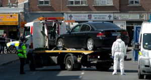 A car thought to have been used by gunmen who carried out  the killing of Gareth Hutch in Dublin today is removed by gardaí for technical examination. Photograph: Gareth Chaney/Collins