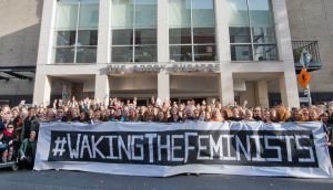 A demonstration outside the Abbey Theatre during a Waking the Feminists event. File photograph: Brenda Fitzsimons/The Irish Times