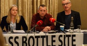 The Irish Glass Bottle Site Housing Action Group is urging the setting aside of 100 per cent of the Dublin site for council and affordable housing. Calling for the move at Buswells Hotel today were group spokeswoman Annette Mooney, AAA-PBP TD   Richard Boyd Barrett and  architect  Mark Price. Photograph: Cyril Byrne/The Irish Times