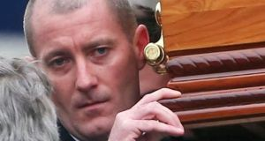 Gareth Hutch carries the coffin at his cousin Gary Hutch's funeral last year. Photograph: Collins