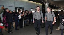 Former All Blacks captain Richie McCaw and Sam Cane arrive at Heathrow Airport last summer to return home after winning the World Cup. Photograph: David Rogers/Getty Images