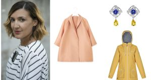 Tanya Grimson, editor of maven46; oversized A-line blazer from COS; coloured diamonds from Boodles and a yellow raincoat from Regatta at The Great Outdoors