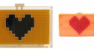 Wear your heart on your sleeve with this Les Petits joueurs Grace Box Clutch for €740 from Brown Thomas (left), or avoid heart problems with this Lego Acrylic Box Evening Clutch (right) €25 from milanblocks.com